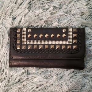 Faux Leather Black Studded Wallet